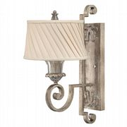 Kingsley Single Wall Light in a Silver Leaf Finish with a Dark Ivory Pleated Fabric Shade - HK/KINGSLEY1